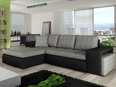 Corner Sofa Bed Atlantis With Pouffes Storage Container Sleep Function New