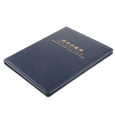 60 Pockets Paper Money Collection Album Leather Bill Notes Book Holder Blue