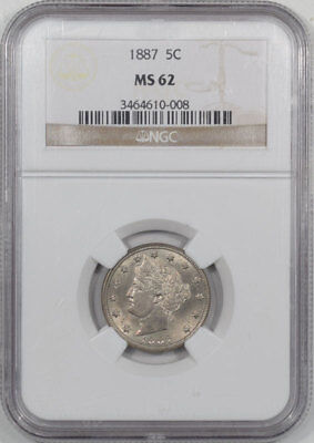 1887 Liberty Nickel Ngc Ms-62. Another Coin From The Reeded Edge!