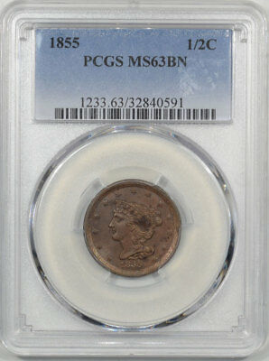 1855 Braided Hair Half Cent Pcgs Ms-63 Bn.  Another Coin From The Reeded Edge!