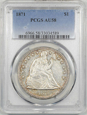 1871 Liberty Seated Dollar Pcgs Au-58. Another Coin From The Reeded Edge!
