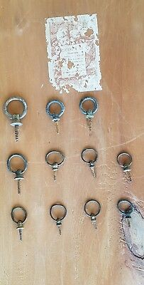 11 Georgian Brass Picture Frame Ring Hooks