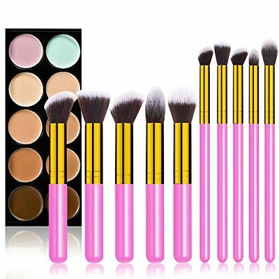 Makeup Brush Kit Set Beauty Cosmetics Blending Brushes Accessories Pink 10 Piece