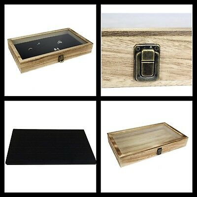 Display Box Wood Glass Top Lid Black Pad Case Medals Awards Jewelry Oak New