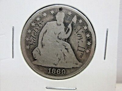 1869 Us Seated Liberty Half Dollar Love Token With Hole -Nov.11Th Fidelity