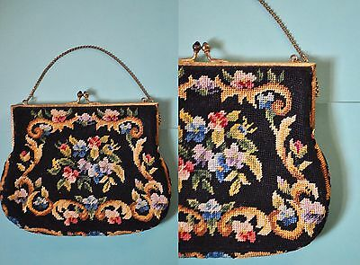 Vintage 20s Floral Embroidered Purse Petit Point Tapestry Edwardian Mini Purse