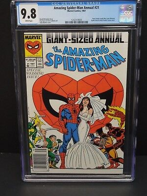 Marvel Amazing Spider-Man Annual #21 1987 Cgc 9.8 White Pages Wedding Newsstand