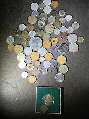 B) Lot Foreign Coins Europe Zambia China India Poland  .7 Ounces
