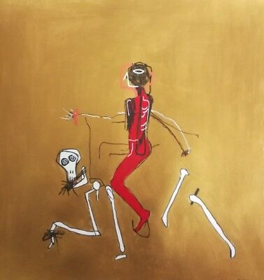 Neo Expressionist Jean Michel Basquiat styled painting (Riding with death)
