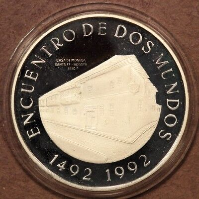 "Colombia 10,000 Pesos 1991 ""Two Worlds - Bogota Mint"" Silver Gem Proof"