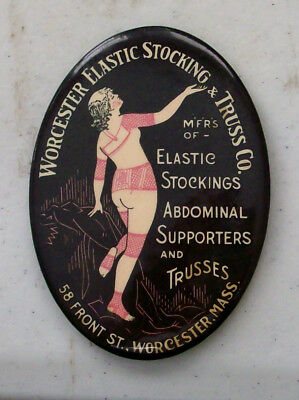 1900s Worcester-Mass Elastic Stocking & Truss Co Celluloid Advertising Mirror!