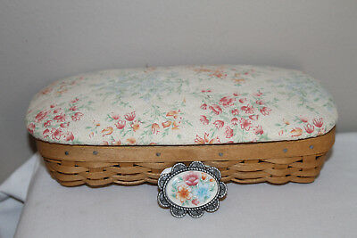 2002  Longaberger Mother's Day Special Things Basket, Protector,  Fabric Lid Tie