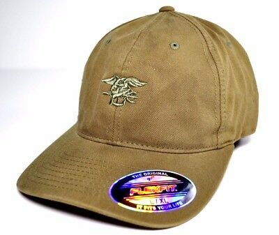 US NAVY SEAL TEAM Embroidered Flexfit Baseball Cap L-XL Hat Coyote NSWG UDT  SWCC