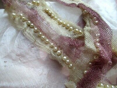 Antique Edwardian Hdmd Tiny Faux Glass Pearl  Delicate Gossamer Silk Tulle Trim