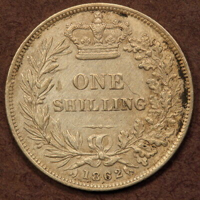 Great Britain Shilling 1862 Silver ChVF - Key Date