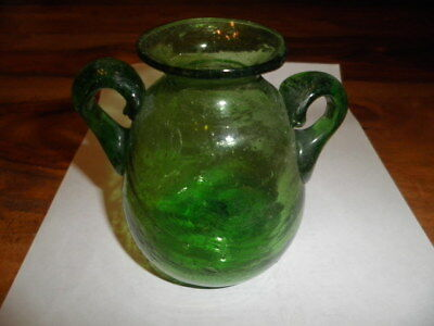 Gorgeous Small Green Glass Antique-style Handled Vase