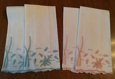4 Vintage Emile Marghab, Inc  Linen Small Guest Towels Under The Sea Fish 1969