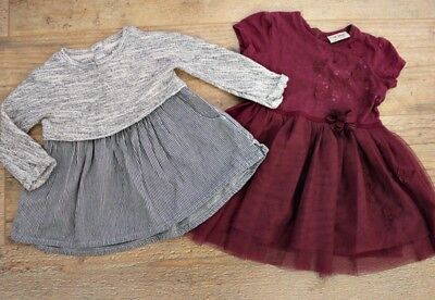 100% Next Baby Girls Small Bundle Outfit Grey Purple Jumper Party Dress 9-12 M