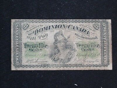 1870 DOMINION OF CANADA 25 Cent Note March 1, 1870 .25 Bill Starts At 99 Cents!