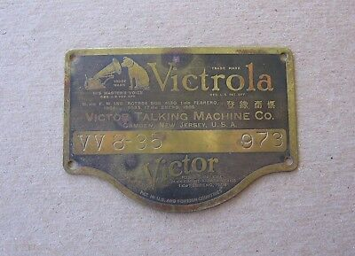 1906 Antique Victor Victrola Talking Machine Brass Name Plate Tag Style VV8-35 i