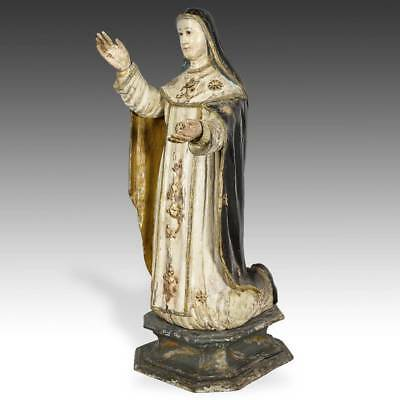 Antique Sculpture St Catherine Of Sienna Wood French Colonial Vietnam 19Th C