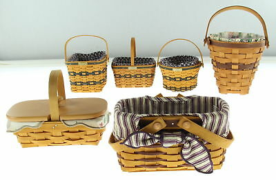 Lot Of 6 LONGABERGER Hand Woven Baskets With Liners