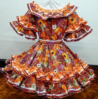 New !!! 2Pc Summertime Burgundy And Orange Floral Square Dance Sissy Dress