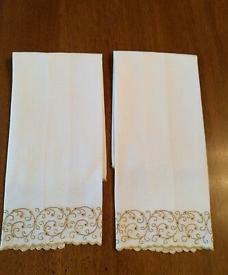 Set of 2 Madeira Guest Towels Off White and Olive Swirls