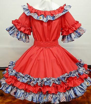 New !!! Ready For Independence Day-July 4Th  2 Pc Red-White-Blue Square Dance Dr