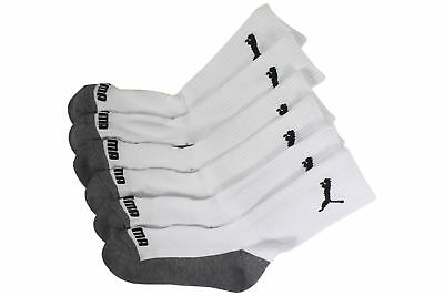 Puma Little Boys 6-Pack White/Black Cushioned Crew Socks Sz 9-11 Fits Shoe 4-9.5