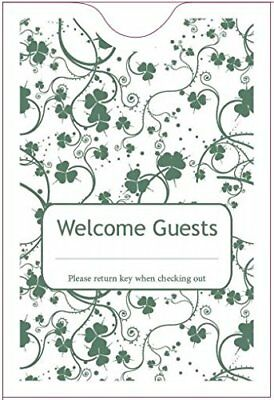 """Hotel Keycard Envelope/ Sleeve """" Welcome Guests"""" Green 2-3/8"""" x 3-1/2"""" 5000/Box"""