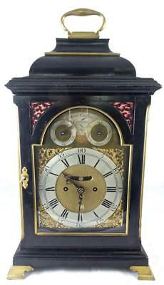 Important Original 18th c English Twin Fusee Verge XL Ebonised Bracket Clock