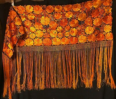 """Antique Hungarian Hand Embroidered Piano Shawl 56 x 18 plus 18"""" fringe"""