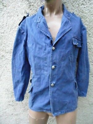 TREILLIS POMPIER 30th VINTAGE BLEU DE TRAVAIL WORKER CLOTHING FIREMAN DENIM