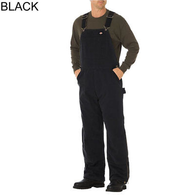 Dickies TB244 Black Sanded Duck Insulated Bib Overall Pants *Free US Shipping*