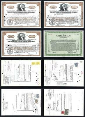Lot of 4 Stock Certificates issued between 1942 and 1950 - Lot # 607