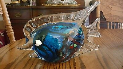Large Vintage Hand Blown Glass Fish