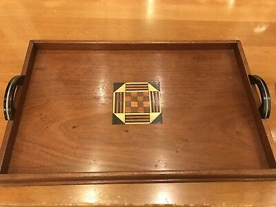 Vintage Art Deco Tray Wooden Tray Marquetry Tray