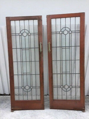 Leadlight Solid timber doors x 2
