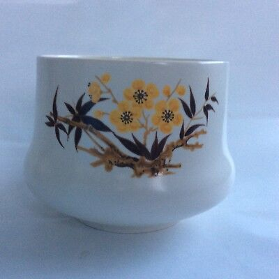 Vintage Scottish Aviemore Pottery Open Pot 9cm High. Yellow Flowers + Leaves