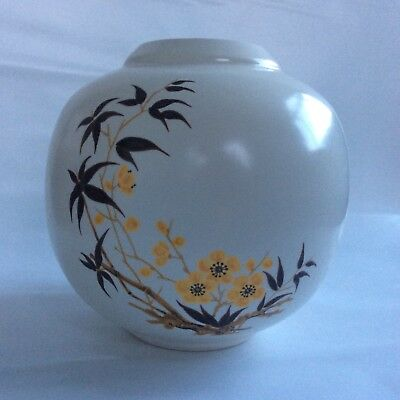 Vintage Scottish Aviemore Pottery Round Pot 12 cm High. Yellow Flowers + Leaves