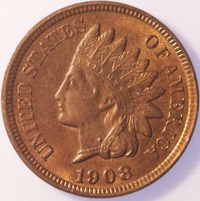 1908 Indian Cent, Choice Brilliant Uncirculated, Lustrous, Tons Of Red, Classic!