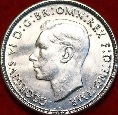 Uncirculated 1944 Australia Florin Silver Foreign Coin Free S/H