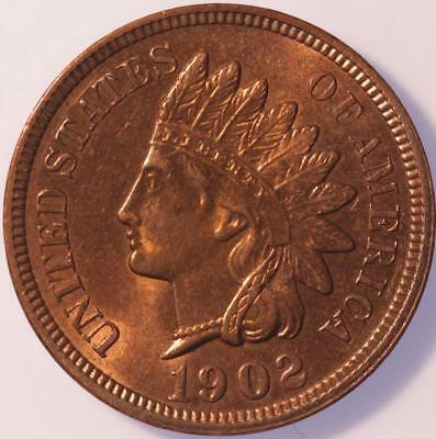 1902 Indian Cent, Choice Brilliant Uncirculated, Lustrous, Tons Of Red, Classic!