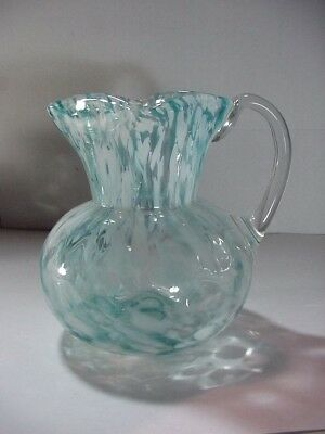 Antique Art Glass End Of Day Pitcher Inverted Thumbprint