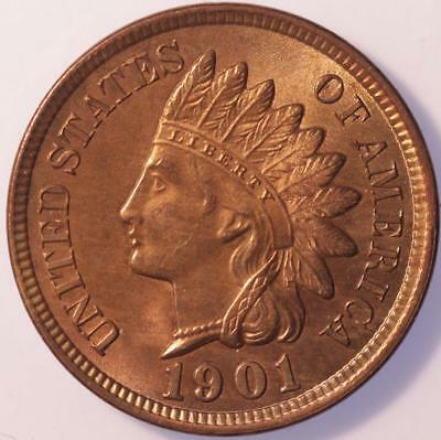 1901 Indian Cent, Choice Brilliant Uncirculated, Lustrous, Tons Of Red, Classic!
