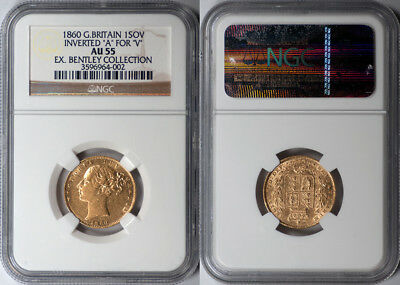 "Great Britain 1860 Victoria gold ""Inverted A for V"" Sovereign NGC AU-55 RARE!!"