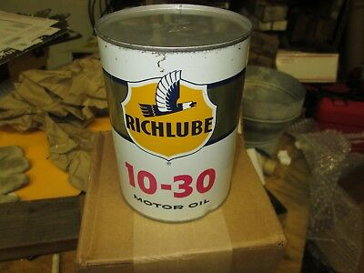 Early Original Cities Richfield Richlube Motor Oil Quart Metal Can