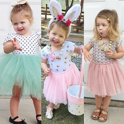 Toddler Baby Kids Girl Dress Shell Lace Flower Tulle Tutu Party Dresses 1-6Y AU