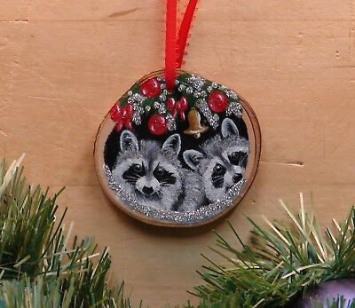 Hand Painted Wood Slice Christmas Ornament Two Raccoons in the Snow Glitter 43